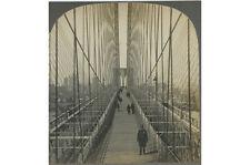 STEREOVIEW POLICE IN UNIFORM, BROOKLYN BRIDGE + NEW YORK