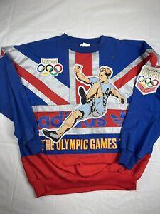 VTG RARE ADIDAS THE OLYMPIC GAMES 1908 SWEATSHIRT S MEN TRACK SPORT 90s USA