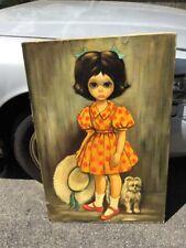 "Large 24""x36"" Oil On Canvas Painting Margaret Keane 1963 Big Eyes Girl With Dog"
