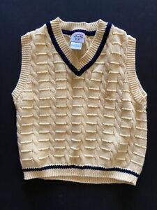 Talbots Kids Boys Size 4 Yellow Navy V Neck Vest Cable Knit