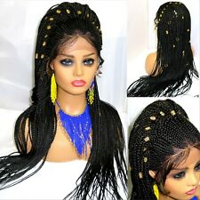 "Braided Lace Front Wig Handmade 4"" by 4"" Closure Braided Wig Very Long Black"