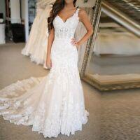 Vintage Vestido Novia Mermaid Wedding Dresses Lace Applique Wedding Bridal Gowns