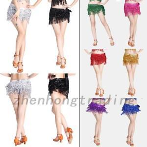 Sequins Belly Dance Dancer Tassel Skirt Belt Hip Waist Scarf Wrap Costume Dress