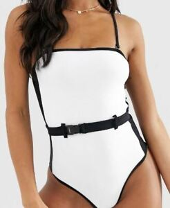 NEW SALE! New Look belted colour block swimsuit in white pattern UK 8