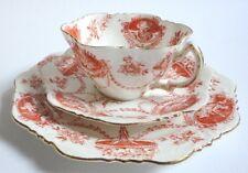 Antiguo Platillo de taza de té té Placa Vintage Bone China CAMPANILLA blanca forma cameo