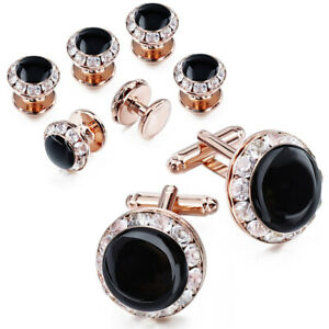 HAWSON Classic Enamel and Crystal Cufflinks Tuxedo Studs Set -4 color available