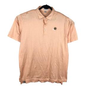 Peter Millar Orange Striped Polo Golf Shirt Size XL Cotton Pine Needles