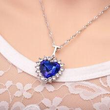 Elegnate Collar Cadena Gargantilla Colgante Cristal Azul Corazón Necklace