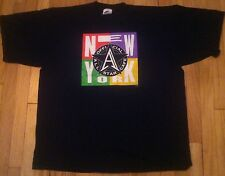 Vintage 1995 NEW YORK ALL STAR CAFE shirt XL hip hop cross colors block 90s