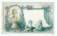 1800's ETELKA GERSTER*BUST*LIGHTLY EMBOSSED VICTORIAN CARD*SILVER METALLIC