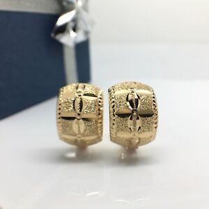 18k solid yellow diamond cut clip earrings 3.5 grams