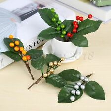 5x Artifical Berries Branch Christmas Wedding Berry Leaves Flower DIY Decoration