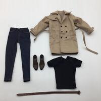"1/6 Khaki Windcoat Pants Clothes Shoes Full Set For 12"" Male Action Figure"