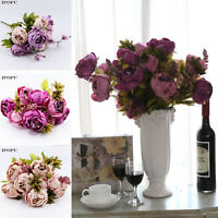 Artificial Silk Peony Flowers Fake Leaf Bouquet Wedding Party Home Office Decor