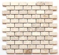 1x2 Botticino Tumbled Aged Marble Mosaic Tile Backsplash Wall Kitchen Bath