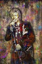 David Bowie Pop Art Poster, David Bowie Colorful Tribute 20x30in Free Shipping
