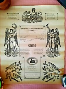 Vintage UNUSED German Fraktur, Birth & Baptism Certificate, Printed Reading PA