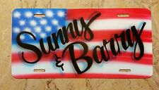 Custom License Plate Car Tag Personalized Name American Flag Patriot Airbrush