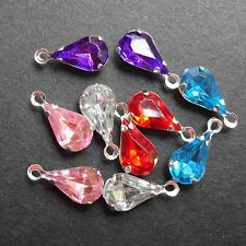 Vintage Crystal Faceted Teardrop  Mixed Color Silver Settings  - 10pcs.