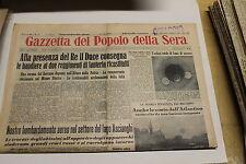 [J1] GAZZETTA DEL POPOLO DELLA SERA 8/01/1936 DUCE CONSEGNA BANDIERE