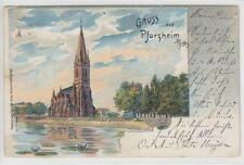 AK Pforzheim, Kirche, Litho 1903