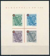 Frz. Zone Baden Rotes Kreuz Block 1949 Block 2 Type I/III  (S11131)