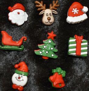 Christmas Buttons - Pack of 5 -  Single Shank - Reindeer Santa Snowman Bells