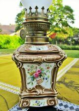 Lampe à pétrole ancienne Fleurs faïence peinte à la main France Antique kerosene