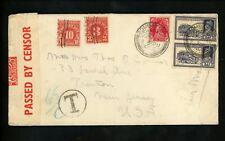 US Postal History #J82+J84 Postage Due on India #153+160(2) Censored 1940 Bombay