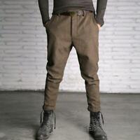 British Retro Mens Wool Blend Tweed Casual Loose Long Pants Coffee Trousers SIZE