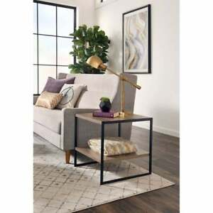 End Side Table With Storage Industrial Table Two Shelves Housewarming Gift