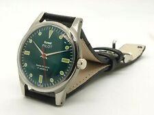 genuine hmt pilot hand winding men steel green dial 17 jewel vintage India watch