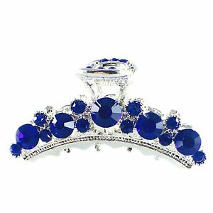 USA Hair Claw Clip Rhinestone Crystal Hairpin Elegant Jeweled Silver Blue New 2
