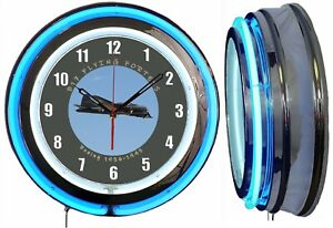 """Boeing B-17 Flying Fortress 19"""" Blue Neon Clock ManCave Airplane Aircraft Hanger"""