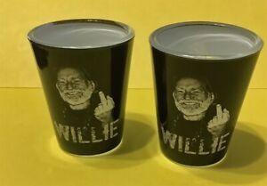 WILLIE NELSON MIDDLE FINGER SET OF 2 SHOT GLASSES