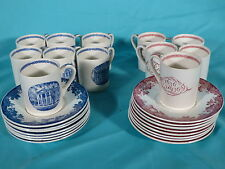 Vintage 27 Wedgwood Harvard Tercentenary Demi Cups Saucers Red Blue  DAZZLING!!!