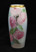 Vintage Hand Painted Bavarian German Vase w/ Flowers - Pink, Green, Blue Gold...