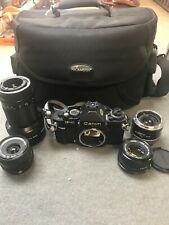 Canon F-1 35mm Camera w/ Multiple Lens & Extras