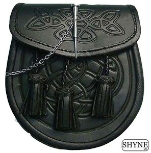 CELTIC EMBOSSED BLACK LEATHER LATCH PIN KILT SPORRAN With Belt and Chain