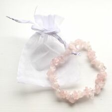 Rose Quartz Crystal Stone Chip Stretch Bracelet