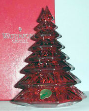 """Waterford Christmas Tree Sculpture Red Crystal 6.5"""" New in Box"""