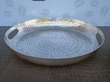 Deko Tablett De Silva rund, Alu silber, 40 cm groß