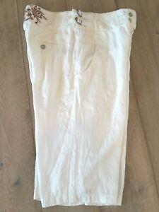 DA-NANG Embroidered Silky Cotton Capri Pants / Long Beachy Bermuda Shorts Size M
