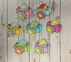 10 Wooden Camera Buttons Sewing Card Making Scrapbook Craft Embellishments