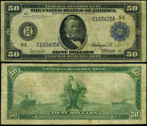 FR. 1040 $50 1914 Federal Reserve Note Richmond Fine+