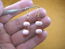 (EE402-12) Pink Peru opal Orange carnelian 10 & 6 mm two bead dangle earrings