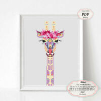 Mandala Giraffe - Modern Embroidery Cross stitch PDF Pattern - 086