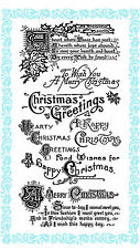 """Clear Stamps Lot 4""""x7"""" Hearty Christmas Greeting Saying Vintage FLONZ 831 Rubber"""