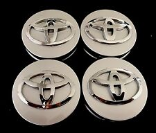 FOR TOYOTA SET OF 4 WHEEL RIMS CENTER HUB CAP CAPS SILVER BASE CHROME LOGO 62MM