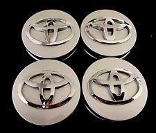 For Toyota Set Of 4 Wheel Rims Center Hub Cap Caps Silver Base Chrome Logo 62Mm